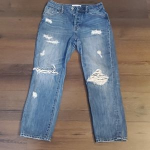 Pacsun Destroyed Button Fly Cropped Mom Jeans